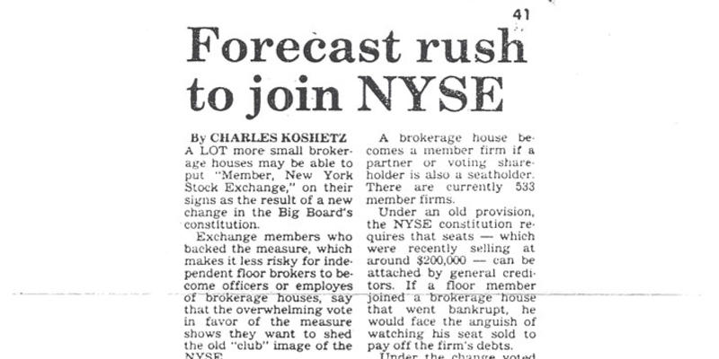 Forecast rush to join NYSE